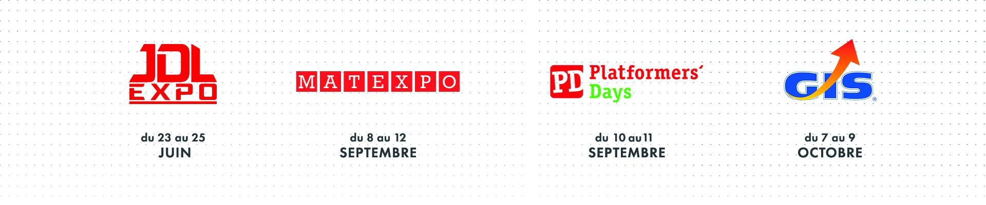 Logos des salons JDL, Matexpo, Platformers' Days, GIS